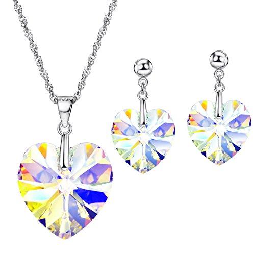 NEOGLORY Conjunto Collar Pendientes Plata de Ley 925 Corazón Cristale
