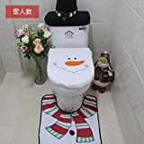 SAMTITY Coprisedile da Toilette in Pupazzo di Neve in Flanella, Set coprisedili da Toilette di Natale, Imbottitura per i Piedi, Fodera per Serbatoio, Fodera per Scatola di fazzoletti da Bagno