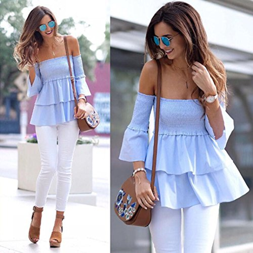 Femme Bardot Tops à éPaules DéNudéEs à Jolies Manches Cloche Chemises éTé OverDose Sexy Blouse Bleu