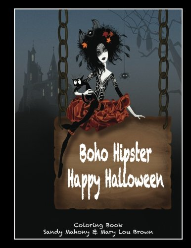Boho Hipster Happy Halloween Coloring Book