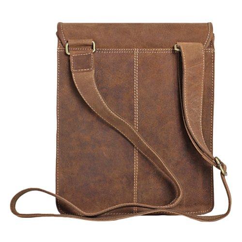 Unisex Messenger-Bag aus geöltem Buffalo-Leder in A4-Format - Extremely rugged Outback Wear Natural Buckskin