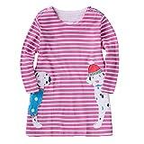 Juleya Casual Kleid für Mädchen 2-10 Jahre, Herbst / Winter Elegante Prinzessin Baumwolle Langarm Kleid Streifen mit Cartoon Tier Gedruckt