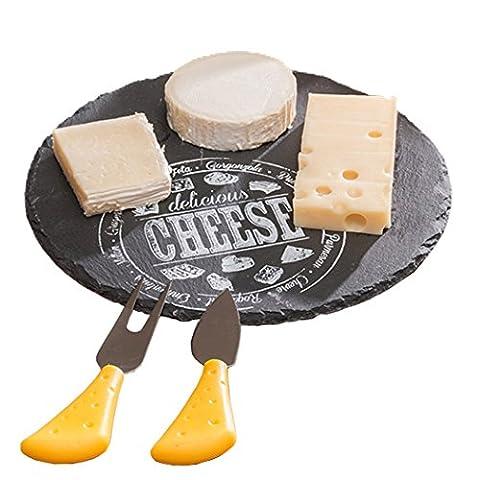 Schiefer Käse Servier Set mit Messer und Gabel (Schieferplatte)