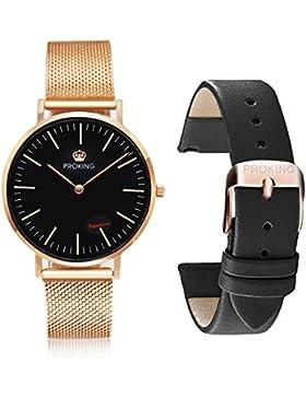 PROKING Herren Armbanduhr Quarz Uhren Ultra Thin Slim Paar Uhren Rose Gold Edelstahl Mesh austauschbar Strap Business...