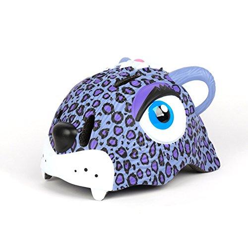 YXINY Helme TH-005 Kinder Helm PC + EPS 3D Cartoon Tiere Kind Allround Helme Junge Mädchen Fahrrad Fahrradhelm LED Nachtlicht 49-56cm 222G Rosa, Lila Allround-Helme ( Farbe : Lila )