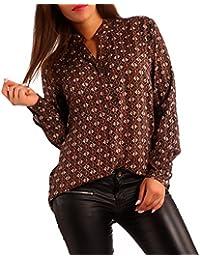 Damen Bluse Tunikabluse Allover-Druck