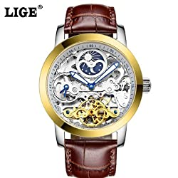 LIGE Tourbillon Mens Watches Relogio Masculino Top Brand Luxury Men Watch Automatic Mechanical Leather Wristwatches (Watch Only) - 6812L - Brown Gold