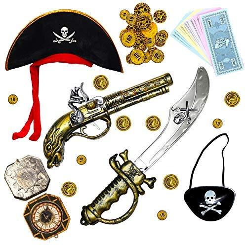 Robelli bambini costume da pirata set di accessori (spada, pistola & benda sull'occhio )