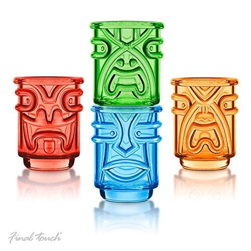 (Final Touch TIKI Stapelbar Shot Glasses Schnapsgläser COLOURED Farben 60ml Hawaiian Themed 4 Stück - TK5402)