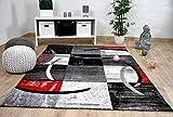 Designer Teppich Brilliant Karo Rot Grau Trend in 5 Größen