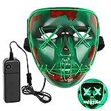 INKERSCOOP Máscara de Halloween, Horror de Luz Fría LED Máscara Facial de LED EL Wire Cosplay Festival Disfraz de Halloween Danza Fantasma Cara Fluorescente (Verde)