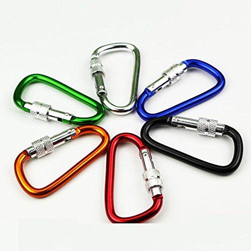 10Pcs D-Form Aluminium-Karabiner Camping Wandern Außenrastverriegelung Clip Schlüsselhaken zufällige Farbe -