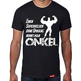 Einen Superhelden ohne Umhang nennt man Onkel // Original Hariz® T-Shirt - 16 Farben, XS-4XXL // Familie | Spruch | Männer | Geschenk | Papa #Onkel Collection Black XXL