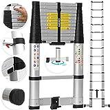 MASKO® Teleskopleiter 3,80m Soft Close   Klemmschutz   ALU Leiter   360° ausklappbare sicherheitsbügel   13 Sprossen   Aluleiter Stehleiter Anlegeleiter   Mehrzweckleiter   belastbar bis 150 kg