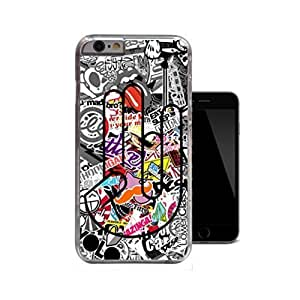 iPhone 6Cas Shocker Stickerbomb JDM Drift Dub Noir & Blanc Eat Sleep Design unique Face Transparent Coupe Slim de protection en plastique rigide