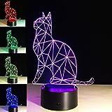 PROW® 3D Acryl Panel Skulptur Sehr schöne Elfen Katzen Bunte Changing Illumination Indoor Schlafzimmer Dekor LED Nacht Schreibtisch Lampe Weihnachten Spielzeug Geschenk