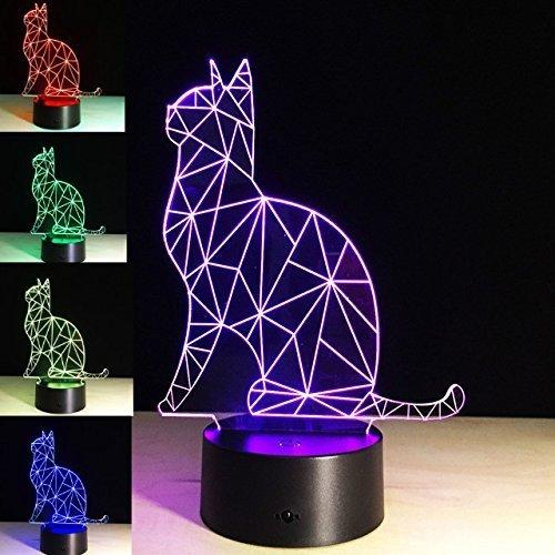 (PROW® 3D Acryl Panel Skulptur Sehr schöne Elfen Katzen Bunte Changing Illumination Indoor Schlafzimmer Dekor LED Nacht Schreibtisch Lampe Weihnachten Spielzeug Geschenk)