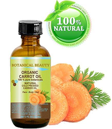 Huile de Carotte BIO 100% d'huile / botaniques pureté / froid naturel pressé - 60 ml. Pour le visage, le corps, les cheveux et des ongles.
