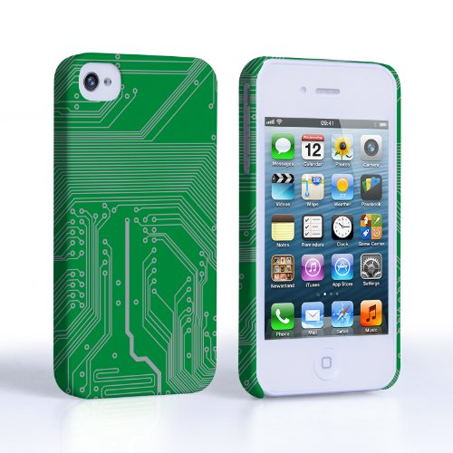 Caseflex Coque iPhone 4 / 4S Etui Vert Carte De Circuit Imprimé Dur Housse