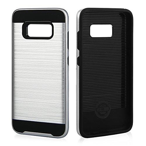 EGO® Hard Case Schutz Hülle für Samsung Galaxy S8, Grau Metallic Effect Brushed Handy Cover Schale Bumper Etui Top-Qualität Silber