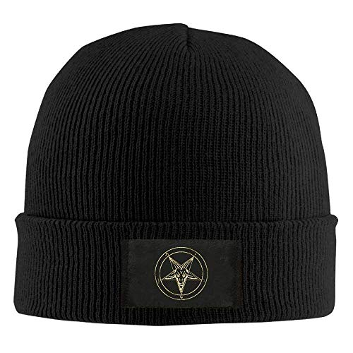 JIEKEIO Funny Baseball Caps Hats Gold Baphomet Inverted Pentacle Pewter Satanic Goat Head Unisex Knit Beanie Hat 100% Acrylic Daily Warm Soft Hats Acrylic Knit Beanie