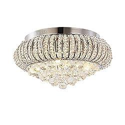 KJLARS Modern Crystal Ceiling Light Chandelier, Chrome Finish Round Pendant Light for Bedroom, Living Room, Restaurant, Dining Room, Indoor use, Flush Mount Hanging Light Fixture Φ 40cm