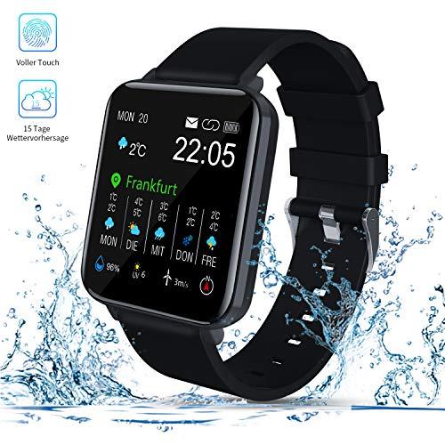 Smartwatch, Zagzog 1,54\'\'Vollfarb-Touchscreen 15 Tage Wettervorhersage GPS-Tracking IP68 wasserdicht Fitness Sportuhr Unisex mit Schrittzähler Herzfrequenz Blutdruck Schlafüberwachung für IOS/Android