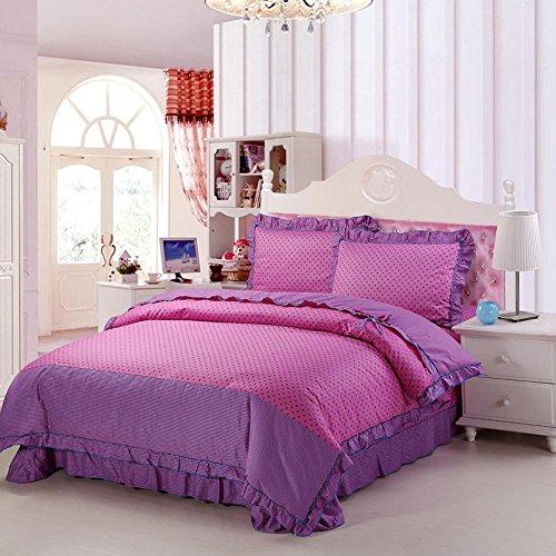wangzhe 100% cotone 4 pezzi rosa fiori stampati Duvet Cover Set/lenzuola/biancheria da letto set/letto set (4 Pezzo Stampato Inserire)