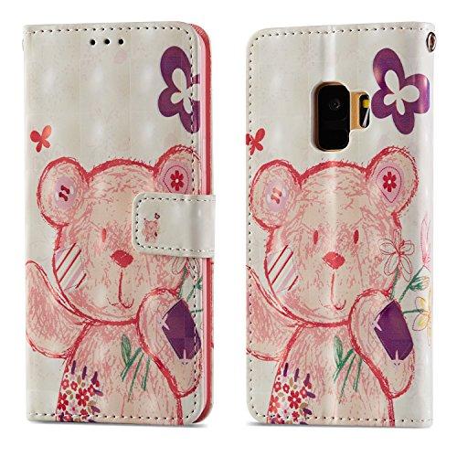 Ooboom Samsung Galaxy S9+ Plus Hülle 3D Flip PU Leder Schutzhülle Stand Handy Tasche Brieftasche Wallet Case Cover mit Trageschlaufe für Samsung Galaxy S9+ Plus - Bär Blume