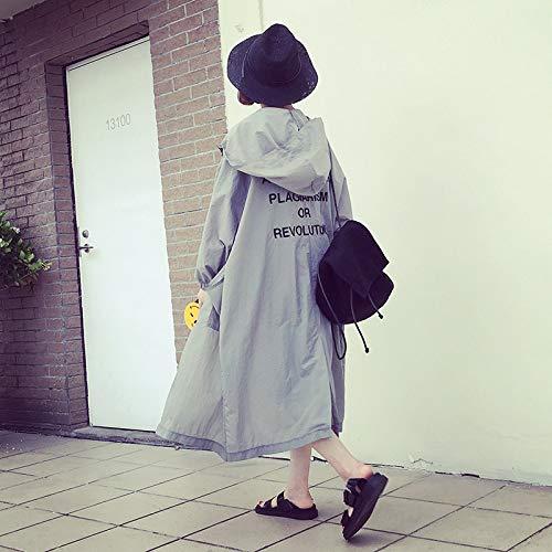 SUIFENG@ Frauen Trenchcoat Frühling Und Sommer Neue Koreanische Studenten Wilden Windbreaker Dünnen Mantel In Den Langen Absatz Große Größe Lose Sonnenschutz Kleidung Frauen (Chambray-mantel)