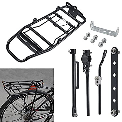 Xpork Alloy Bicycle Carrier Rack Black Rear Cargo Protect Pannier Seat Bag Luggage Package Trunk Cycle Mountain Bike Touring Outdoor 4