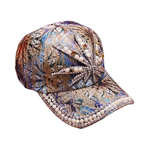 en Sommer Perle Strass Maske Baseballmütze - Schimmer Pulver Fisher Hut Hohl Blume Spitze Snapback Night Party Schirmmütze Cap ()
