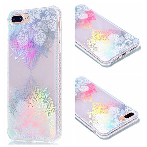 iPhone 8 Plus Custodia, iPhone 7 Plus Custodia, iPhone 8 Plus/7 Plus Cover, JAWSEU Bella Luminoso [Shock-Absorption][Anti Scratch] Protectiva Bumper per iPhone 8 Plus/7 Plus Cristallo Chiaro Cover Cas Fiori di pizzo