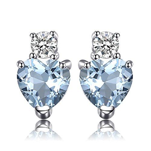 JewelryPalace Donna Gioiello Amore Cuore 1ct Naturale Aquamarine Topazio Bianco Cuore Orecchini Argento Sterling 925