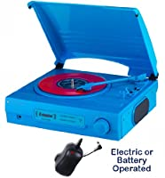 1980s Style Record Player Turntable �?? Mains Electric or Battery �?? Built in Amp & Speakers - Portable/Carry Handle �?? Nostalgic Retro Design (Mains adapter Included) (Neon Blue)