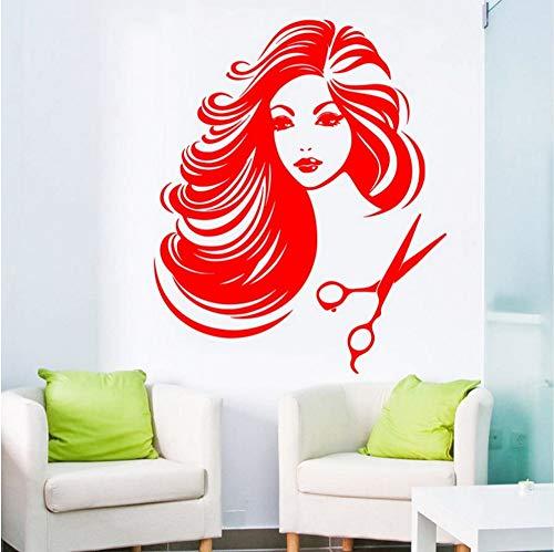 en Vinyl Wandaufkleber Exy Barbershop Girl Doing Hair Cut Art Wandaufkleber Ausgangsdekor Tapete 56 * 89Cm ()