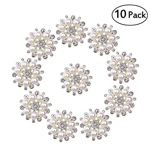 Knopf-perle ultnice Taste mit Perlen und Strass Künstliche für Handwerk Basteln von 30mm 10pcs (Und Strass Tasten Perle)