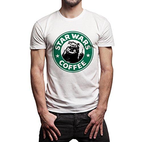 Starbucks Pedo Bear Star Wars Coffee Background Herren T-Shirt Weiß
