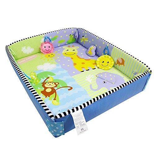 3en 1Antioxidante bebé cama colchón Bebé Play gimnasio bebé gatear Mat Cojín lavable suave alfombra manta 100% poliéster Happy animales patrón 110* 95cm