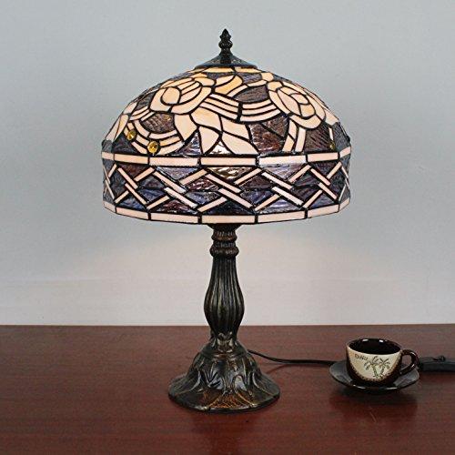 12 Zoll europäische kreative Weinlese-pastorale elegante Blumen-handgemachte Buntglas-Tabellen-Lampe Schreibtisch-Lampe (Blumen-buntglas)