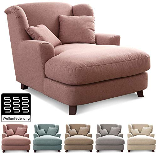 CAVADORE XXL-Sessel Assado Polstersessel mit Holzfüßen, großer Sitzfläche, Polsterung und 2 weichen Kissen, Stoff rosa 109x104x145 (BxHxT)