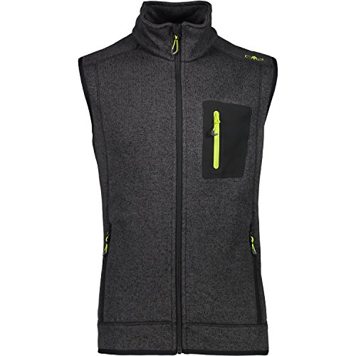 CMP Herren Strick Fleece Weste, Nero/Lime Green, 50