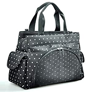 Allis Holiday Baby Changing Bag Nappy Tote (Black, Large, 3-Piece)