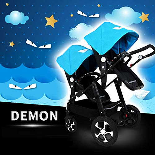 GHH Double Strollers Baby Pram Tandem Buggy Newborn Pushchair Ultra Light Folding Child Shock Absorber Trolley Can Sit Half Lying 0-3 Years Old(Maximum Loadable 50Kg Baby),Coolblack/demon