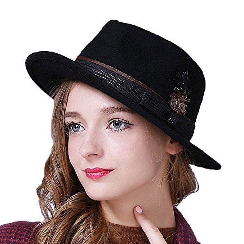 Chapeau Fedora Trilby Classic Feutre Femme Homme Noir