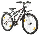 Multibrand, PROBIKE SPEED 24, 24 pollici, 330mm, FSP Mountain Bike, 18 velocità, Unisex, Set parafango, Nero Opaco (Nero + parafango, 24 pollici)