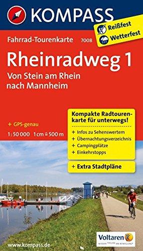 Rheinradweg 1, Von Stein am Rhein nach Mannheim: Fahrrad-Tourenkarte. GPS-genau. 1:50000. (KOMPASS-Fahrrad-Tourenkarten, Band 7008)