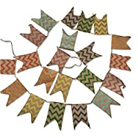 G2PLUS Linen Bunting 3.7 M Hessian Flag Banner Pennant Flag Garlands Fabric Triangle Flags Vintage Cloth Shabby Chic Decoration for Rustic Wedding