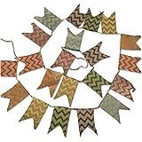 G2Plus guirnalda de banderas de triángulo de 3,7m Guirnaldas De Bandera Banner banderín Bandera de Arpillera Tela de lino doble cara de estilo rústico shabby chic Gamuza, decoración para boda