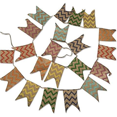 G2Plus guirnalda de banderas de triángulo de 3,7m Guirnaldas De Bandera Banner banderín Bandera de Arpillera Tela de lino doble cara de estilo rústico shabby chic Gamuza, decoración para